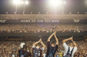 Yell Leaders leading Midnight Yell
